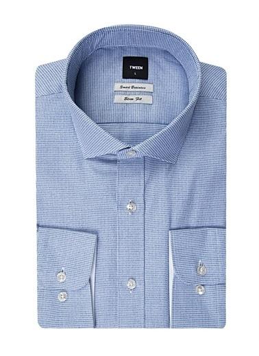 Tween Tween Slim Fit Klasik Kısa Gömlek Yaka Uzun Kollu Kare Desenli Erkek Gömlek Lacivert